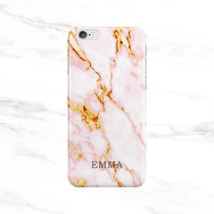 Pink & Gold Marble Initials Case