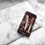 Large rose gold letter with full name