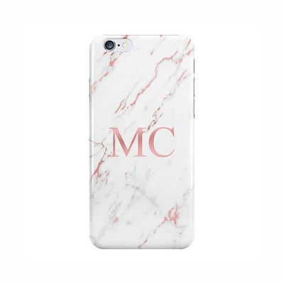 White Marble Light Pink Initials Case