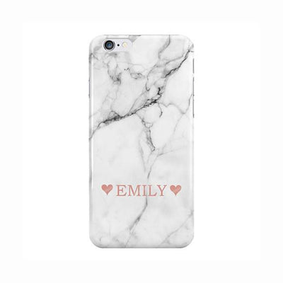 White Marble Pink Name with Hearts