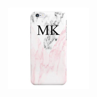 White & Pink Marble Initials Case
