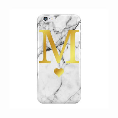 White Marble Gold Initial Heart Case