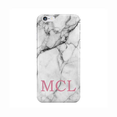 White Marble Pink Three Initials