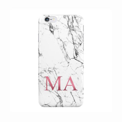 White Marble Pink Initials Bottom