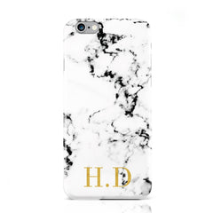 White marble small gold initials
