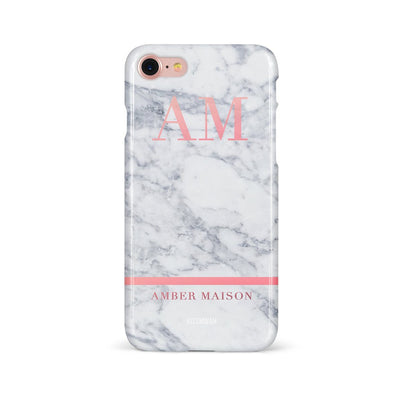 White Marble Pink Initials with Name Case