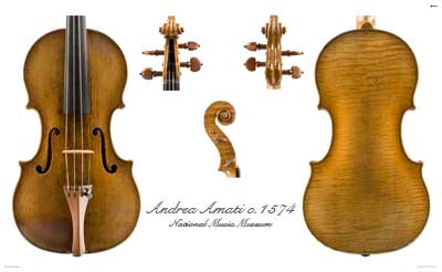 Photos of violin by Andrea Amati, 1574