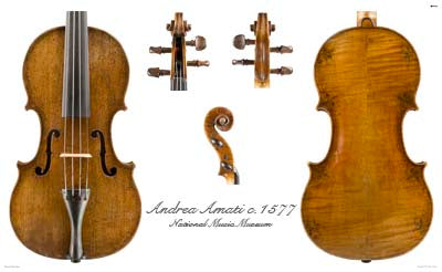 Photos of violin front by Andrea Amati, ca. 1560