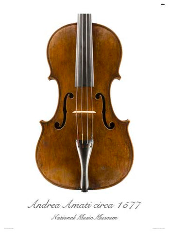 Photo of front of Andrea Amati viola, 1560