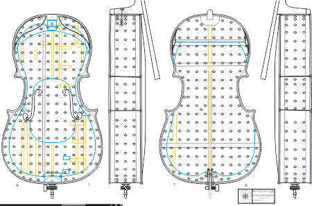 Technical drawing, cello ('The Fruh') by Stradivari, 1730