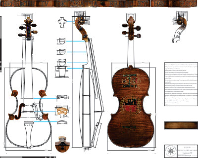Technical drawing, Amati, King Henry IV, violin, 1595