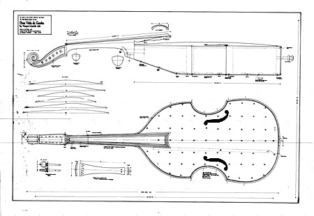 Technical drawing of Linarol bass viol, 1582