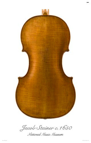 Photo of back of Jacob Stainer tenor viola, 1650
