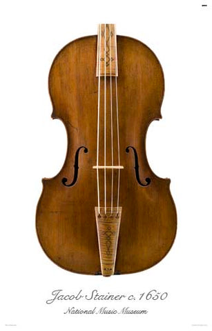Photo of front of Jacob Stainer tenor viola, 1650
