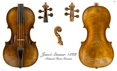 Photos of violin by Jacob Stainer, 1668