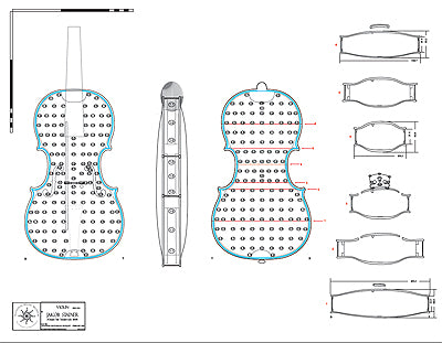 Technical drawing of Stainer Violin, 1668