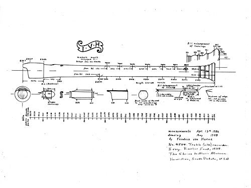 Technical Drawing: Treble Recorder by van Heerde, 1670 (von Huene)