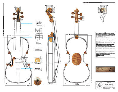Technical Drawing: Violin, Stainer, 1668