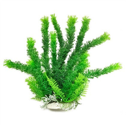 "Cabomba-like 16"" Aquarium Plant w/ Weighted Base, Green"