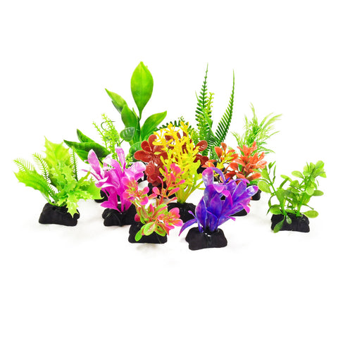 "Plastic Aquarium Plants (Small Weeds) - 3"" High (12-Pack)"