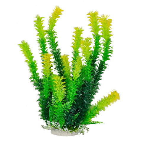 "Green Plant, Light Tips 16"" Aquarium Plant w/ Weighted Base"