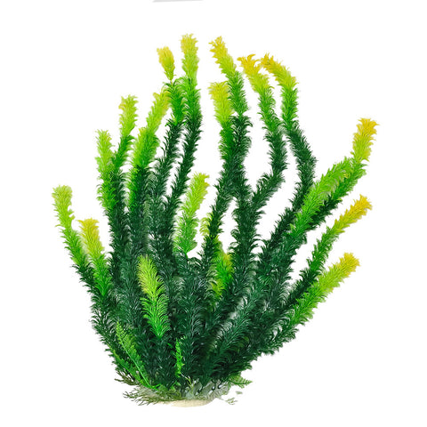 "Green Plant, Light Tips 20"" Aquarium Plant w/ Weighted Base"