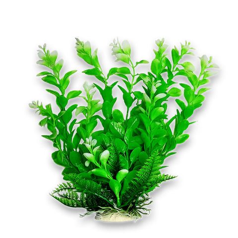 "Green Plant, Light Tips 9"" Aquarium Plant w/ Weighted Base"