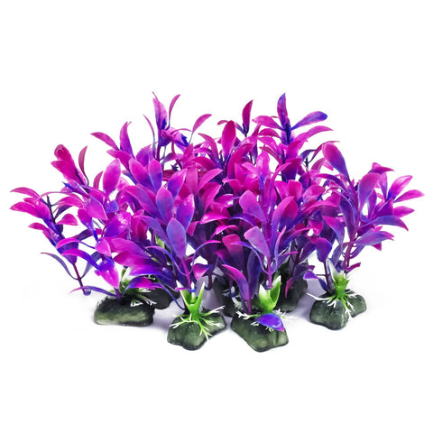 "Plastic Aquarium Plants - Purple 5"" High (10-Pack)"