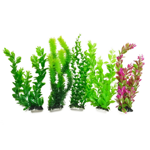 "Plastic Aquarium Plants - Assorted Green 13"" High (5-Pack)"