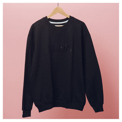 Black Logo Embroidered Crewneck