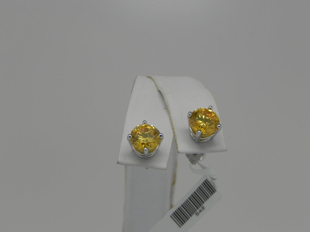 14K White Gold Studs with Yellow Cubic Zirconia
