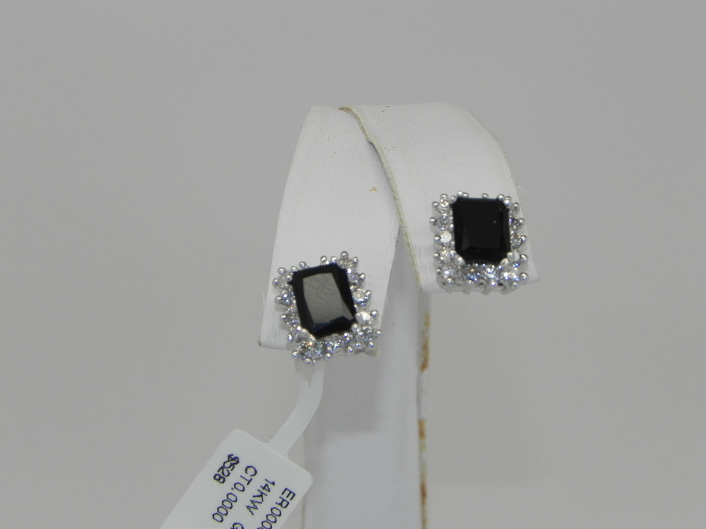 Black Onyx Women Earrings 14K White Gold