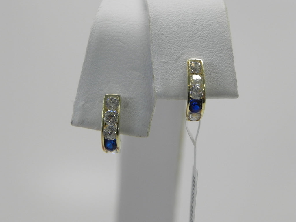 Blue CZ Stone Child Earrings 14K Yellow Gold