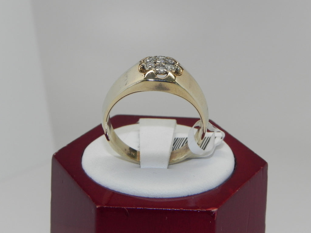 Flower Shape Man's Diamond Ring 14K Yellow Gold