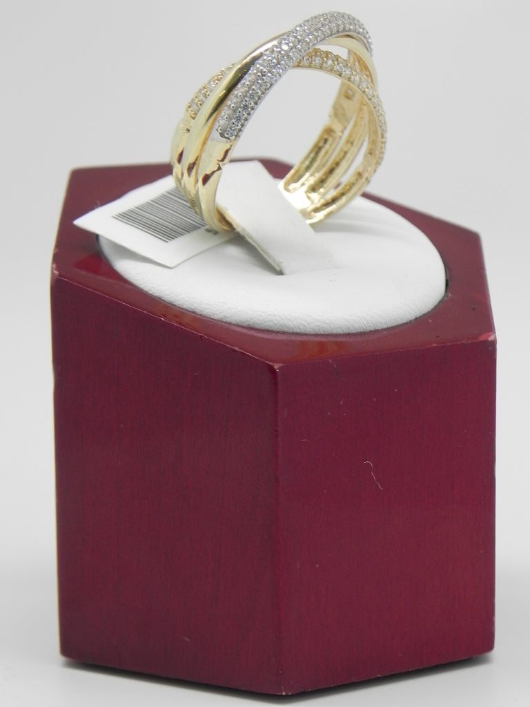 Two-Tone Crossed Line Women Ring 14K Yellow Gold