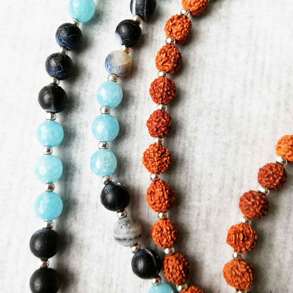 Mala Beads with Blue Sponge, Blue Agate and Rudraksha seeds.