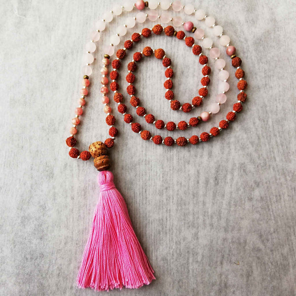 Beautiful Rose Quartz with Rudraksha Beads