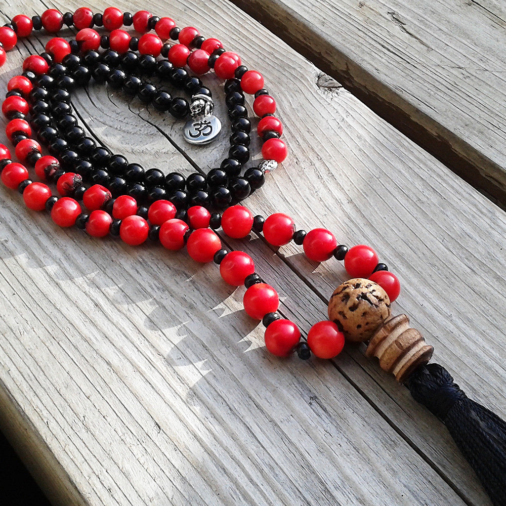 Mala with red coral and onyx