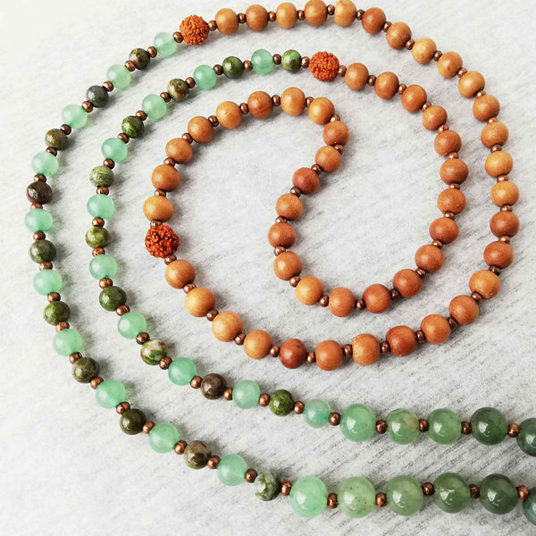 Inner reflection mala with sandlewood and rudraksha beads