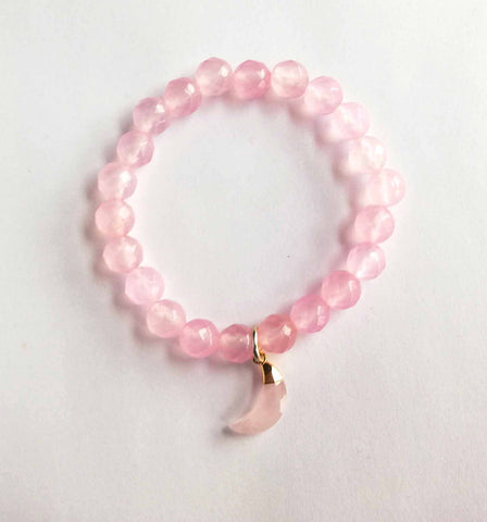 Rose Quartz Moon Bracelet