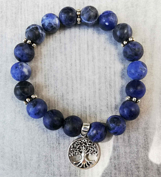 Beautiful Blue Sodalite Bracelet with Sterling Silver Tree of Life. Sodalite is known for enhancing one's intuition and self-trust. In the pst, Sculptors, painters, and artists would carry Sodalite for inspiration.