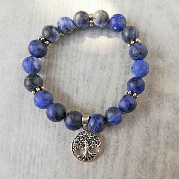 Blue Sodalite bracelet with Sterling Silver Tree of Life Charm.