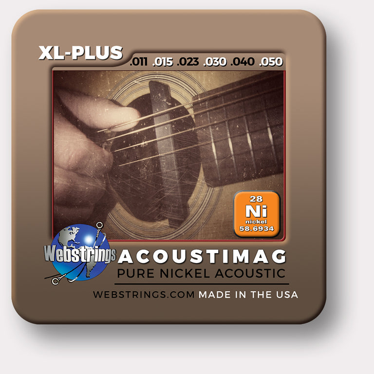 Pure Nickel Acoustic Guitar Strings, for the acoustic guitar that uses a magnetic pickup. Exceptional Tone and Quality along with long life and the lowest price. Pure nickel guitar strings feel and sound incredible. Webstrings Acoustimag guitar strings are an exceptional value. Made in USA