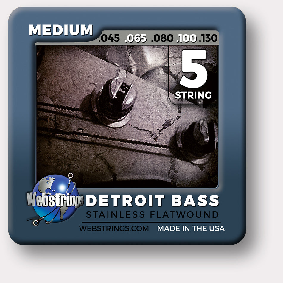 ELECTRIC BASS 5 STRING - WEBSTRINGS DETROIT BASS - STAINLESS STEEL FLATWOUND