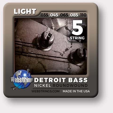 Webstrings Detroit Bass 5 String Nickel Round Wound Bass Strings,  Exceptional Tone and Quality along with long life and the lowest price. Webstrings Detroit Bass 5 String Nickel Round Wound Bass Strings feel and sound incredible. Webstrings Detroit Bass 5 String Nickel Round Bass Strings are an exceptional value.
