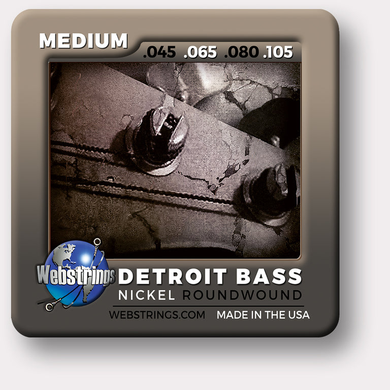 Webstrings Detroit Electric Bass 4 String Nickel Round Wound Bass Strings,  Exceptional Tone and Quality with long life and the lowest price. Webstrings 4 String Nickel Wound Bass Strings feel and sound incredible. Webstrings Detroit Bass 4 String Nickel Round Bass Strings are an exceptional value. Made in the USA