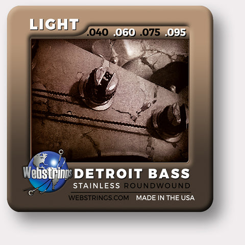 Webstrings Detroit Electric Bass 4 String Stainless Steel Bass Strings, Exceptional Tone and Quality with long life and the lowest price. Webstrings 4 String Stainless Bass Strings feel and sound incredible. Webstrings Detroit Bass 4 String Stainless Round Bass Strings are an exceptional value. Made in the USA