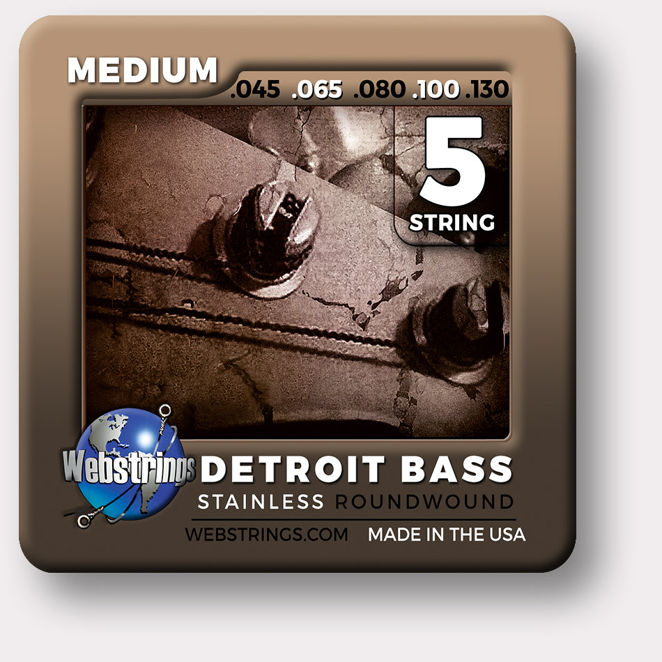 ELECTRIC BASS 5 STRING - WEBSTRINGS DETROIT BASS - STAINLESS STEEL - ROUNDWOUND