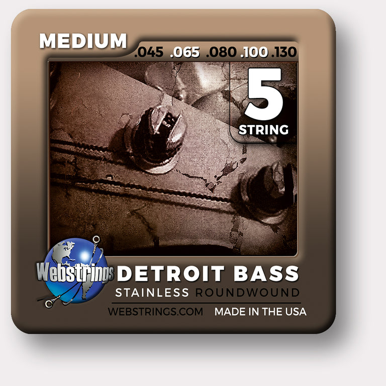 Webstrings Detroit Electric Bass 5 String Stainless Steel Bass Strings, Exceptional Tone and Quality with long life and the lowest price. Webstrings 5 String Stainless Bass Strings feel and sound incredible. Webstrings Detroit Bass 5 String Stainless Round Bass Strings are an exceptional value. Made in the USA