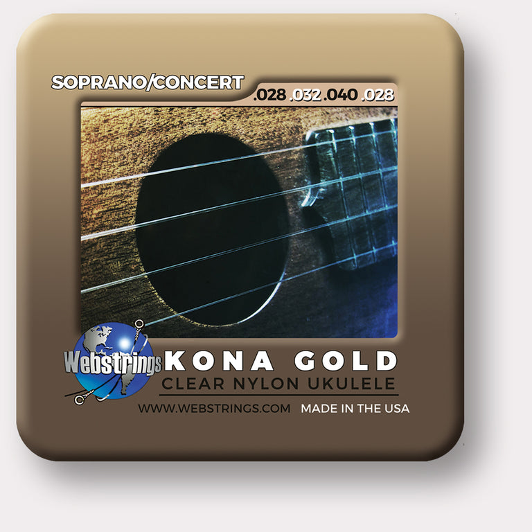 Webstrings Kona Gold Ukulele Strings, Exceptional Tone and Quality along with long life and the lowest price. Webstrings Kona Gold Ukulele Strings feel and sound incredible. Webstrings Kona Gold Ukulele Strings are an exceptional value. Made in the USA